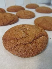 chewy molasses cookies close up 1