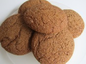 chewy molasses cookies close up 2